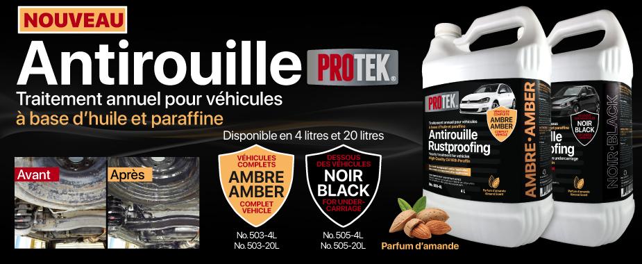 L'antirouille Ambre Protek est conçu pour le traitement annuel de tous les genres de véhicules, neufs ou usagés